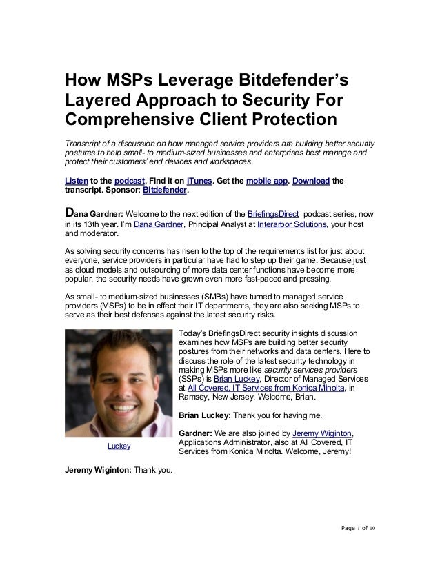Page 1 of 10 How MSPs Leverage Bitdefender's Layered Approach to Security For Comprehensive Client Protection Transcript o...