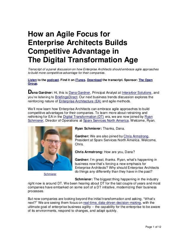 Page 1 of 12 How an Agile Focus for Enterprise Architects Builds Competitive Advantage in The Digital Transformation Age T...