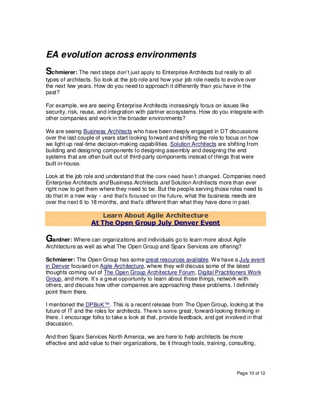 Page 10 of 12 EA evolution across environments Schmierer: The next steps don't just apply to Enterprise Architects but rea...