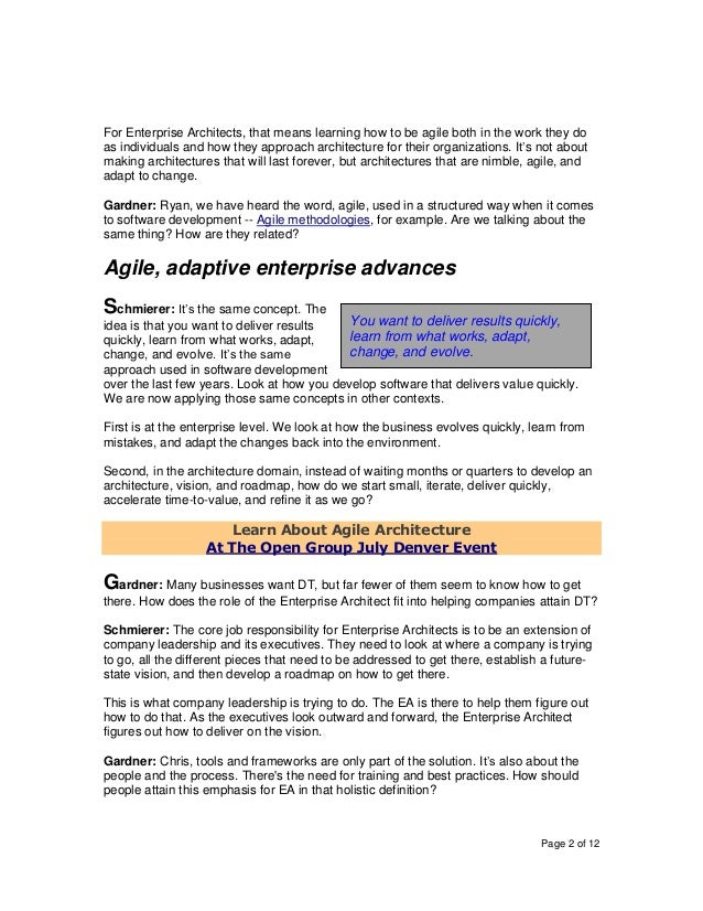 Page 2 of 12 For Enterprise Architects, that means learning how to be agile both in the work they do as individuals and ho...