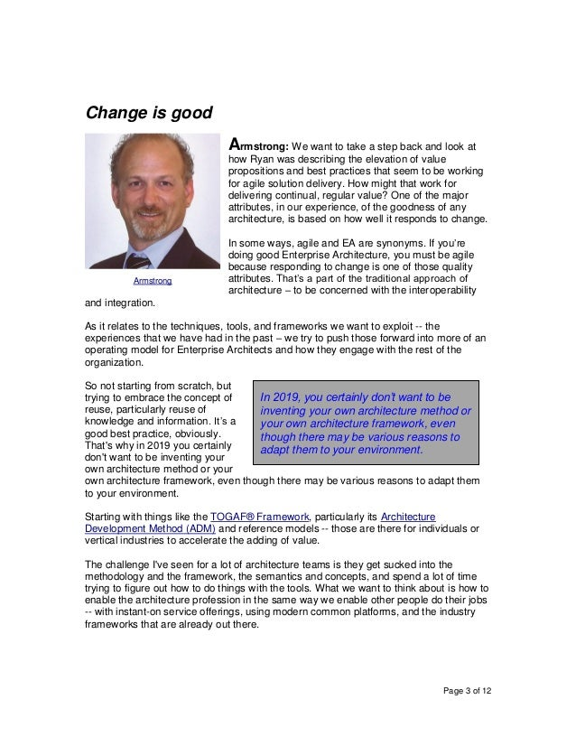 Page 3 of 12 Change is good Armstrong: We want to take a step back and look at how Ryan was describing the elevation of va...