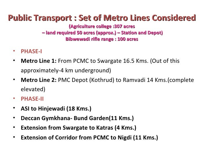 Public Transport : Set of Metro Lines Considered   (Agriculture college :307 acres  – land required 50 acres (approx.) – S...