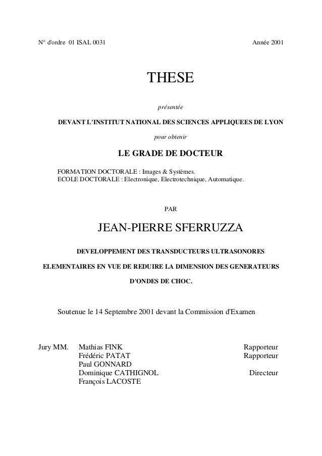 N° d'ordre 01 ISAL 0031 Année 2001 THESE présentée DEVANT L'INSTITUT NATIONAL DES SCIENCES APPLIQUEES DE LYON pour obtenir...