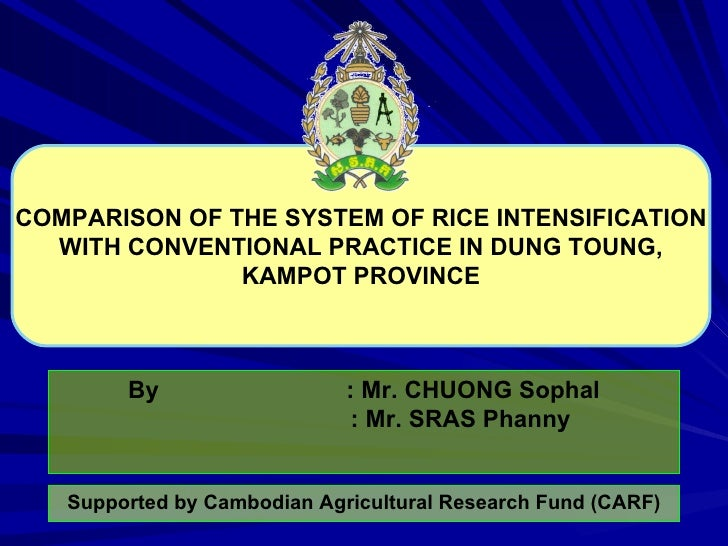 COMPARISON OF THE SYSTEM OF RICE INTENSIFICATION WITH CONVENTIONAL PRACTICE IN DUNG TOUNG, KAMPOT PROVINCE By : Mr. CHUONG...