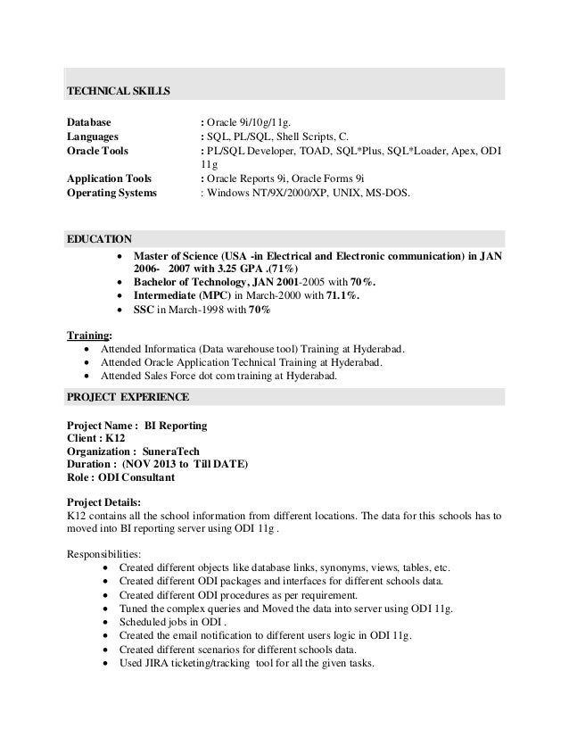 oracle developer resume summary junior software engineer resume