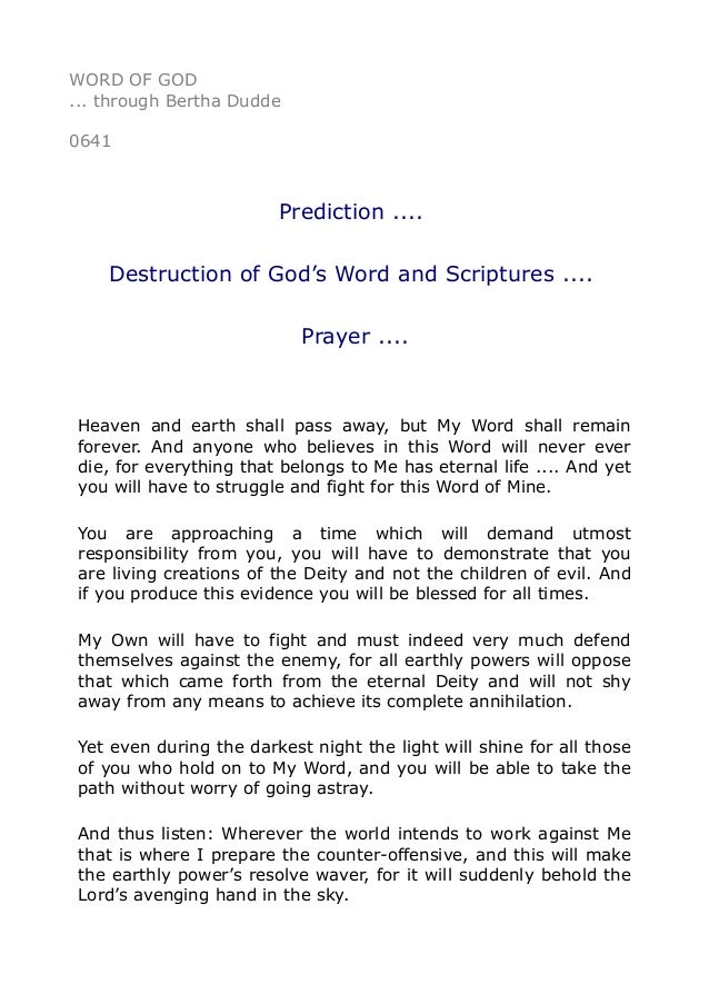 0641 Prediction  . Destruction Of God'S Word And Scriptures  . …