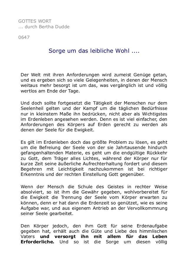 GOTTES WORT ... durch Bertha Dudde 0647 Sorge um das leibliche Wohl .... Der Welt mit ihren Anforderungen wird zumeist Gen...