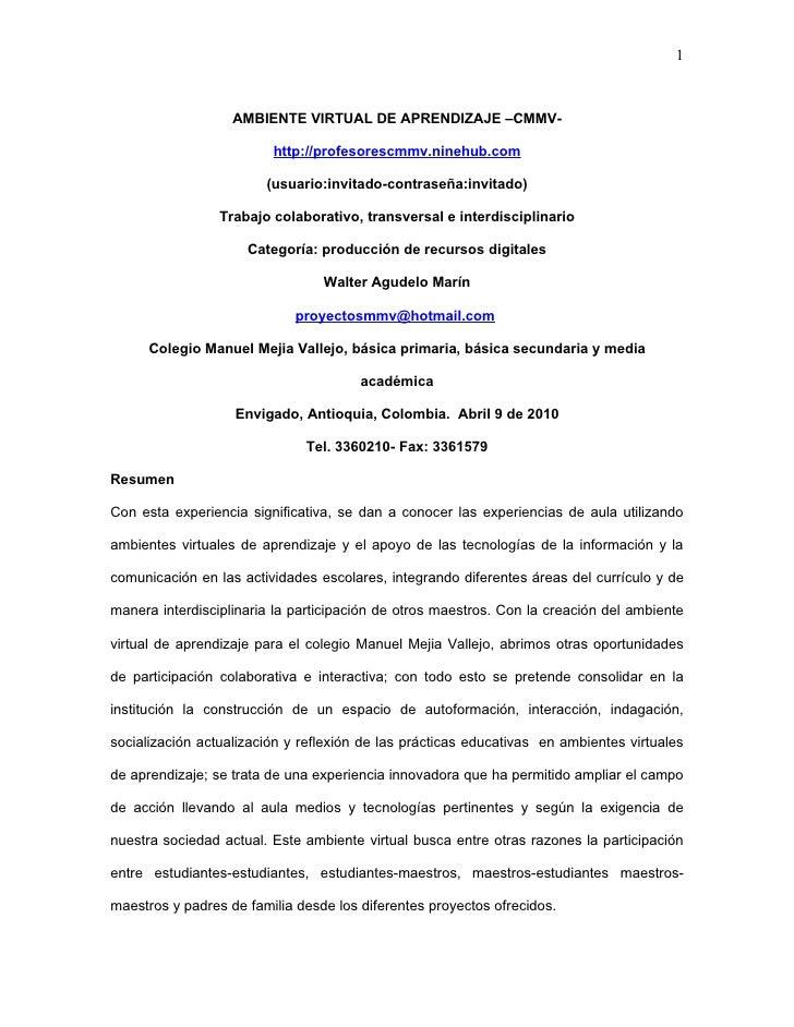 1                       AMBIENTE VIRTUAL DE APRENDIZAJE –CMMV-                           http://profesorescmmv.ninehub.com...