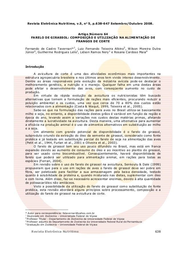 Revista Eletrônica Nutritime, v.5, n° 5, p.638-647 Setembro/Outubro 2008.                                     °           ...