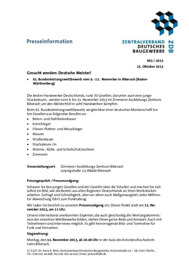 Presseinformation 065 / 2013 15. Oktober 2013  Gesucht werden: Deutsche Meister!   62. Bundesleistungswettbewerb vom 9. -...