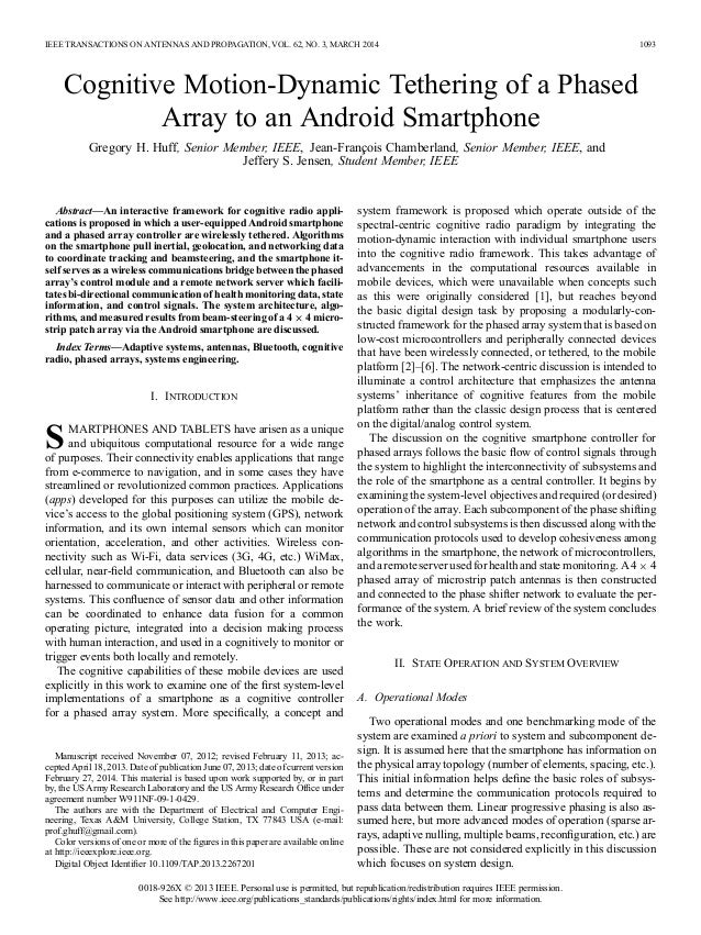 IEEE TRANSACTIONS ON ANTENNAS AND PROPAGATION, VOL. 62, NO. 3, MARCH 2014 1093 Cognitive Motion-Dynamic Tethering of a Pha...