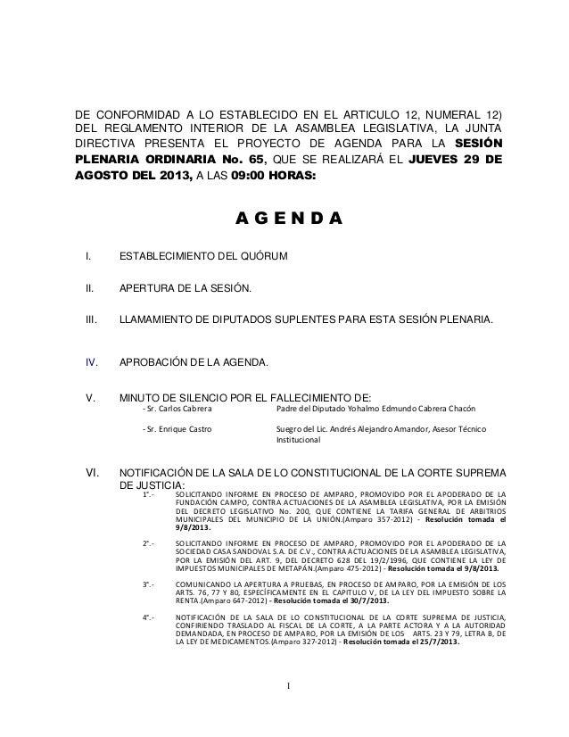 1 DE CONFORMIDAD A LO ESTABLECIDO EN EL ARTICULO 12, NUMERAL 12) DEL REGLAMENTO INTERIOR DE LA ASAMBLEA LEGISLATIVA, LA JU...