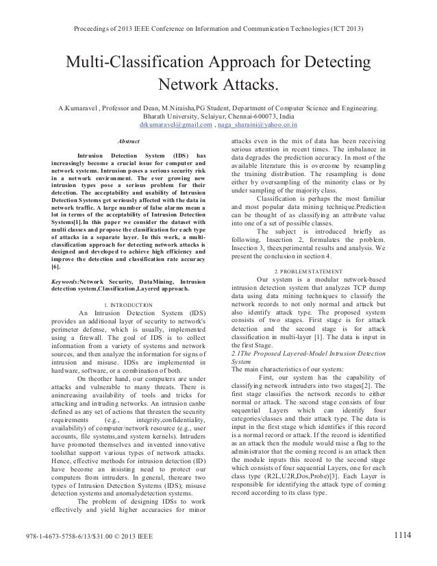 Multi-Classification Approach for Detecting Network Attacks. A.Kumaravel , Professor and Dean, M.Niraisha,PG Student, Depa...