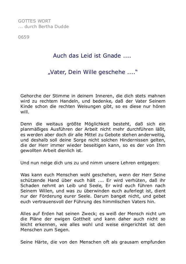 """GOTTES WORT ... durch Bertha Dudde 0659 Auch das Leid ist Gnade .... """"Vater, Dein Wille geschehe ...."""" Gehorche der Stimme..."""