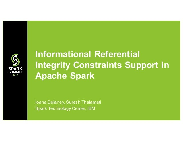 Ioana Delaney, Suresh Thalamati Spark Technology Center, IBM Informational Referential Integrity Constraints Support in Ap...