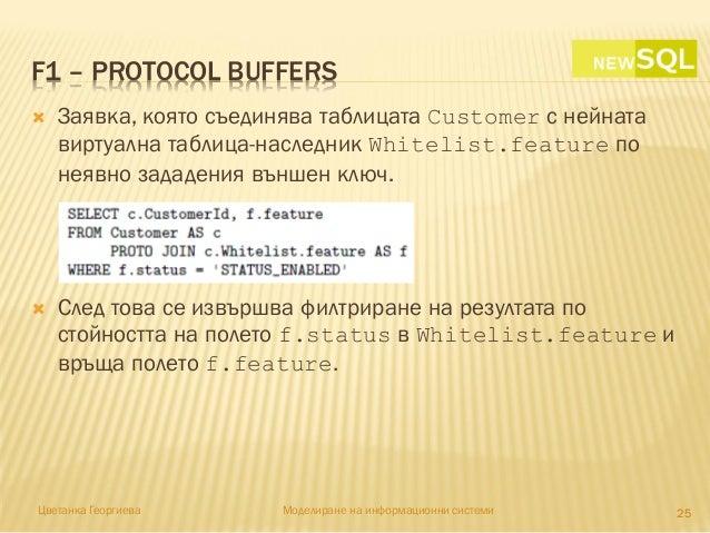 F1 – PROTOCOL BUFFERS  Заявка, която съединява таблицата Customer с нейната виртуална таблица-наследник Whitelist.feature...