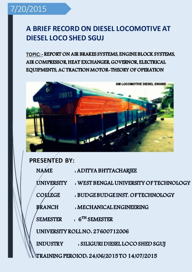 project report trainee engineer at diesel locomotive shed indian ra rh slideshare net