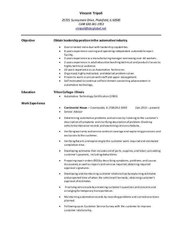vincent tripoli  2015 resume