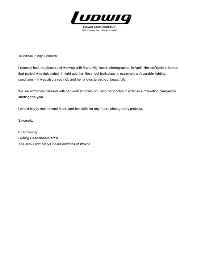 Maria Highlands Photography Ludwig Letter Of Recommendation