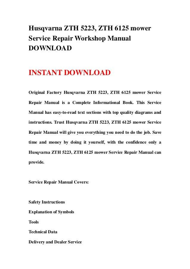 husqvarna zth 5223 zth 6125 mower workshop service repair manual download