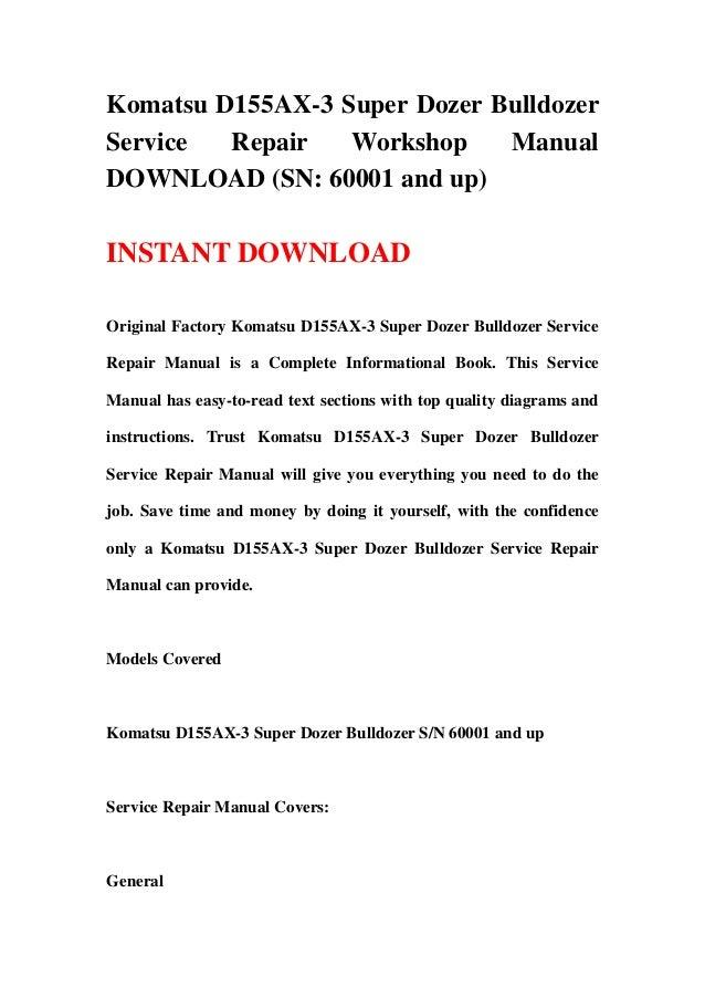 download komatsu d155ax 3 d155 super dozer bulldozer service repair shop manual