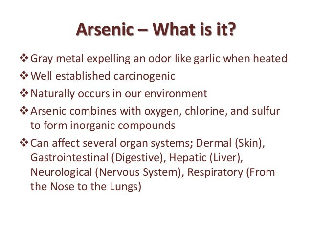 Ceohs Applied Occupational Hygiene Arsenic Ppt