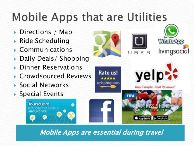 Mobile Apps are essential during travel  Directions / Map  Ride Scheduling  Communications  Daily Deals/ Shopping  Di...