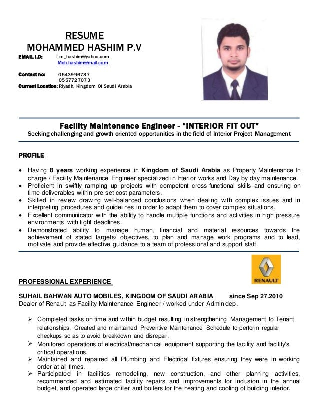 Facility maintenance In-charge CV updated