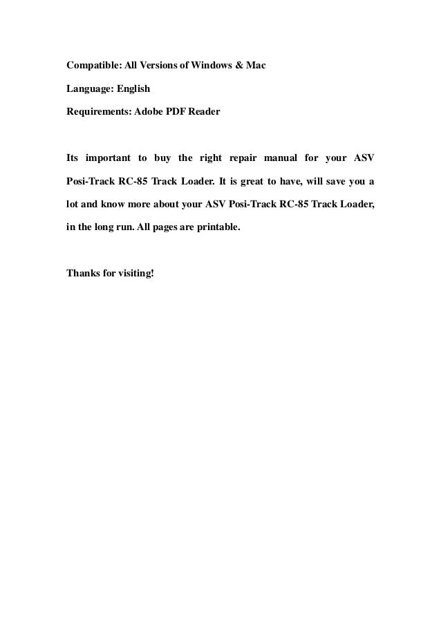 Asv Positrack Rc85 Track Loader Master Parts Manual Downloadrhslideshare: Rc 100 Skid Steer Wiring Diagram At Gmaili.net