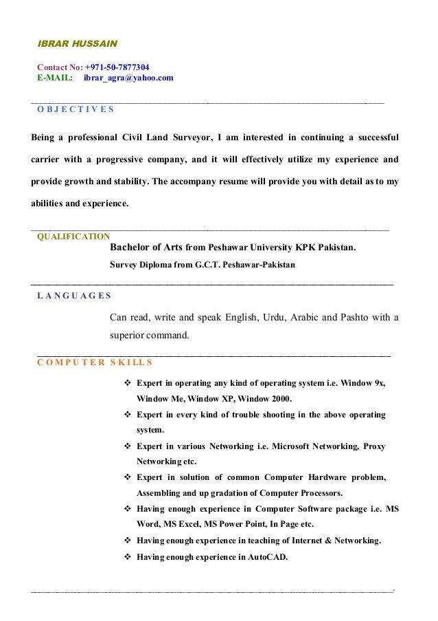 Land Surveyor Updated CV. IBRAR HUSSAIN Contact No: +971 50 7877304 E MAIL:  Ibrar_agra ...