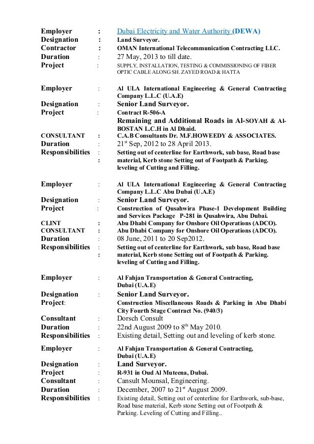 Land Surveyor Resume Sample 492598 Experience Letter Format For