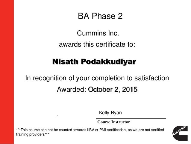BA Phase 2 Certificate of Completion