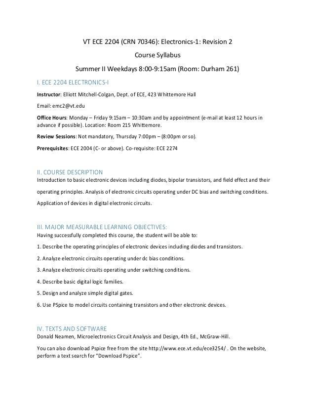 syllabus_virginia_tech_ece_2204vt ece 2204 (crn 70346) electronics 1 revision 2 course syllabus