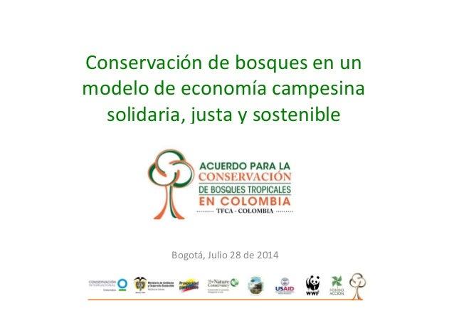 Conservación de bosques en un modelo de economía campesina solidaria, justa y sostenible Bogotá, Julio 28 de 2014