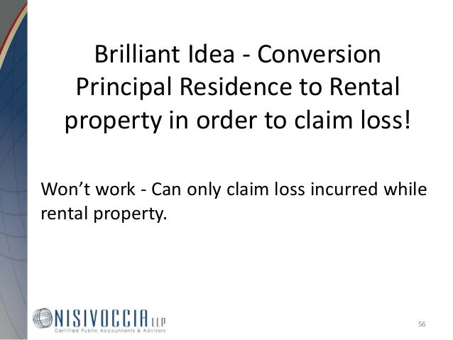 Loss On Rental Property Converted To Personal Use