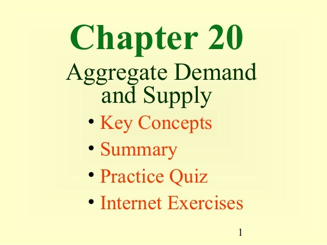 Chapter 20Aggregate Demand  and Supply • Key Concepts • Summary • Practice Quiz • Internet Exercises                    1