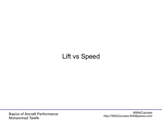 Basics of Aircraft Performance  Mohammad Tawfik  #WikiCourses  http://WikiCourses.WikiSpaces.com  Lift vs Speed