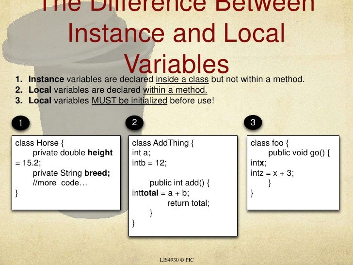 The Difference Between Instance and Local Variables<br />LIS4930 © PIC<br />1<br />2<br />3<br />Instance variables are de...