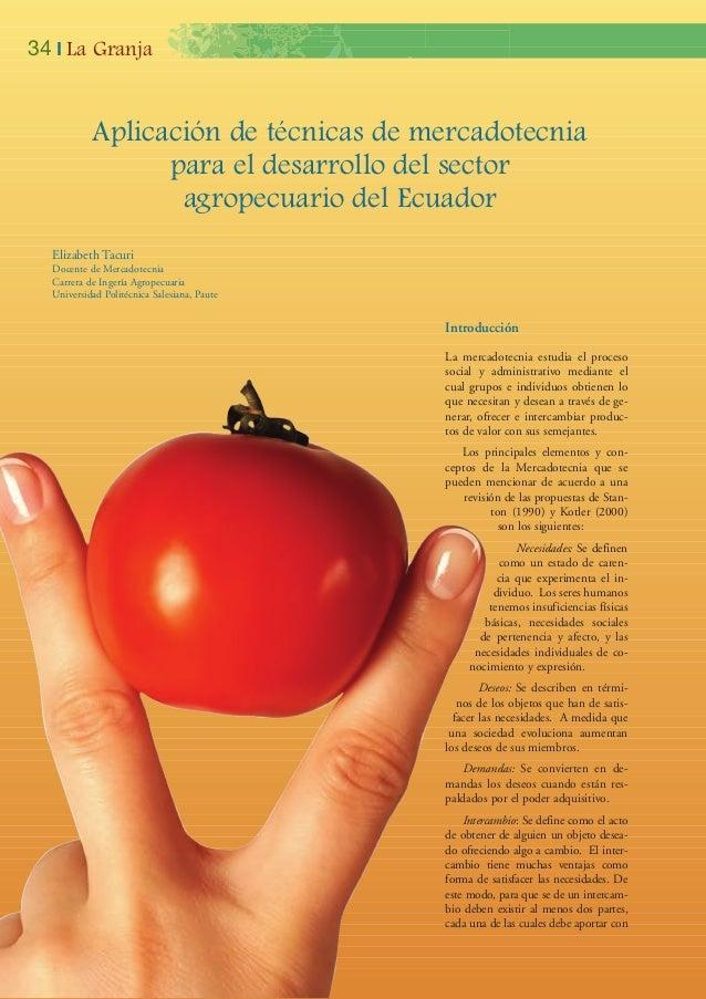 Elizabeth TacuriDocente de MercadotecniaCarrera de Ingería AgropecuariaUniversidad Politécnica Salesiana, PauteAplicación ...