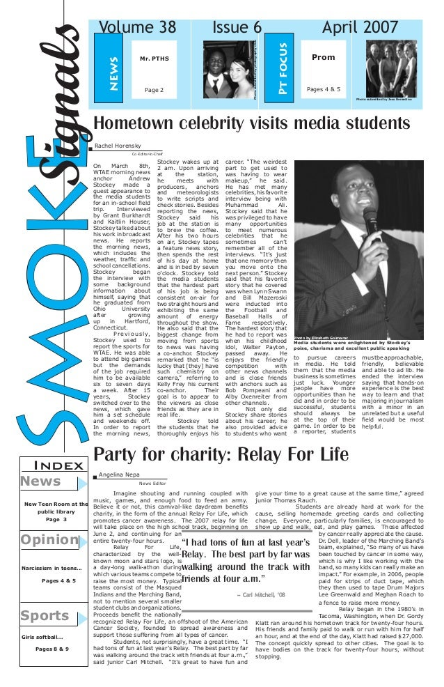 Mr. PTHS  Page 2  April 2007 Pt focus  Issue 6 Photo submitted by photography club  news  Signals Smoke  Volume 38  Prom  ...