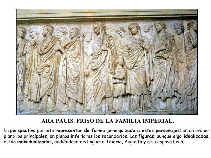 ARA PACIS. FRISO DE LA FAMILIA IMPERIAL. La  perspectiva  permite  representar de forma jerarquizada a estos personajes ; ...