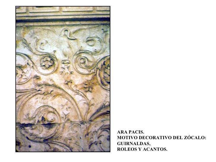 ARA PACIS. MOTIVO DECORATIVO DEL ZÓCALO: GUIRNALDAS, ROLEOS Y ACANTOS.