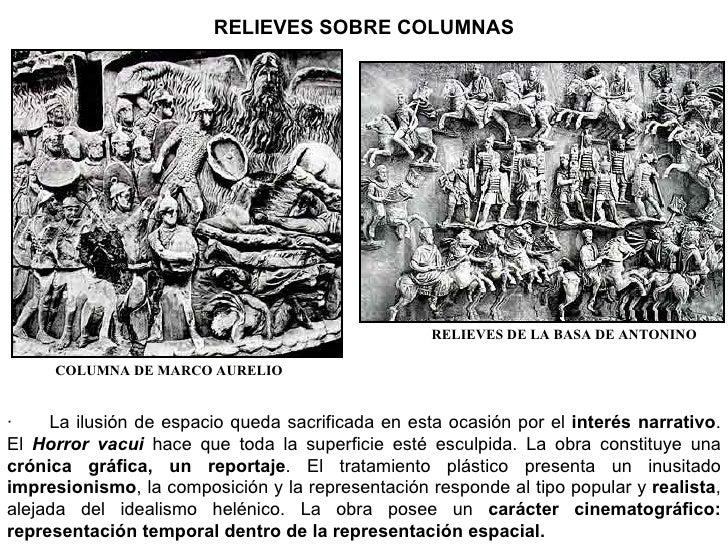 RELIEVES SOBRE COLUMNAS COLUMNA DE MARCO AURELIO RELIEVES DE LA BASA DE ANTONINO · La ilusión de espacio queda sacri...