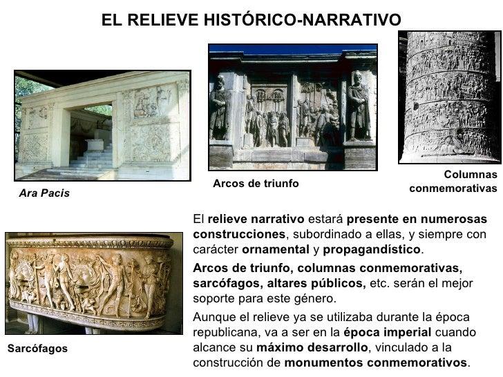 Ara Pacis Sarcófagos Arcos de triunfo Columnas conmemorativas El  relieve narrativo  estará  presente en numerosas constru...