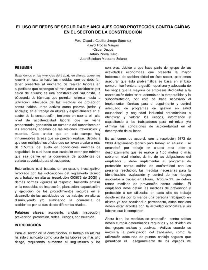 EL USO DE REDES DE SEGURIDAD Y ANCLAJES COMO PROTECCIÓN CONTRA CAÍDAS                    EN EL SECTOR DE LA CONSTRUCCIÓN  ...