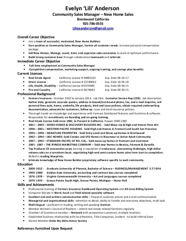 Resume For New Home Sales Free Resume Sample