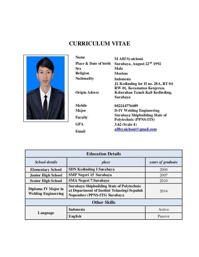 cv and certificate m  afif syaichoni  s st