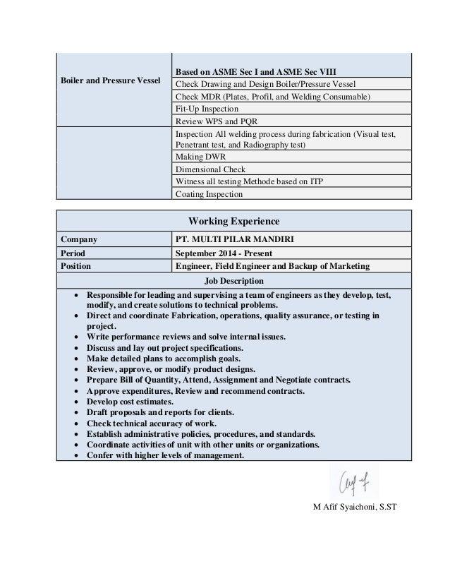 CV and Certificate M. AFIF SYAICHONI, S.ST