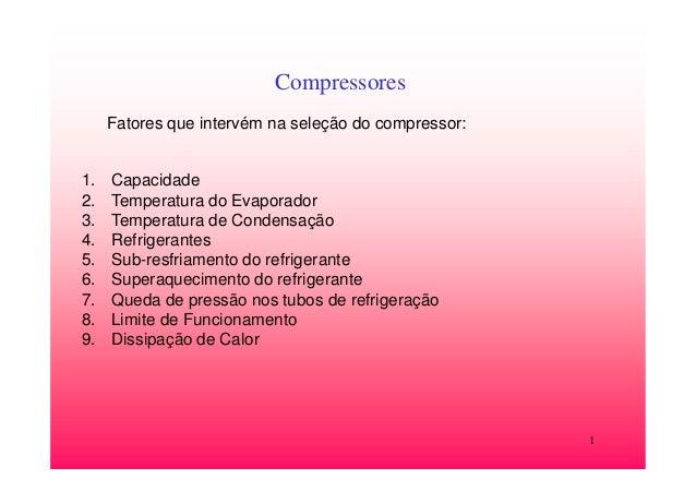 1CompressoresFatores que intervém na seleção do compressor:1. Capacidade2. Temperatura do Evaporador3. Temperatura de Cond...