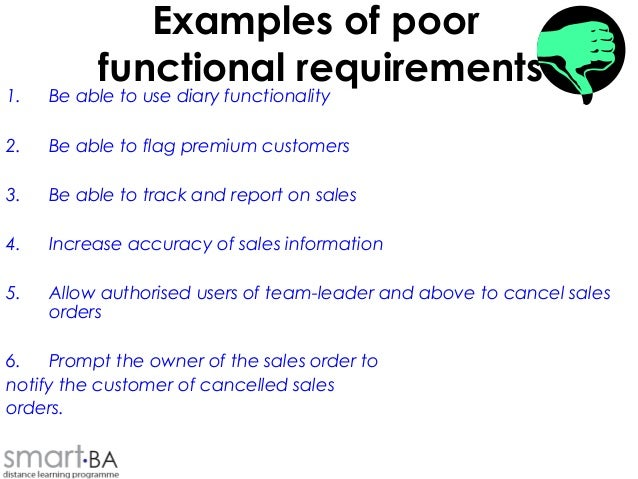 Business And Functional Requirements - Functional requirements examples